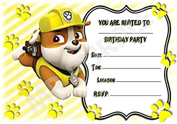 PACK OF 12 PAW PATROL PARTY INVITATIONS