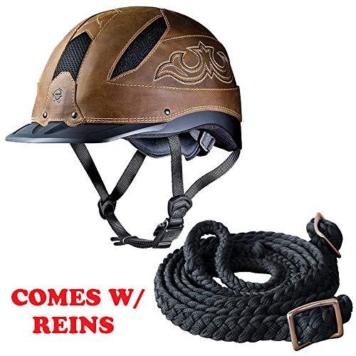 - Troxel Medium Cheyenne Horse Riding Helmet Brown W/Reins
