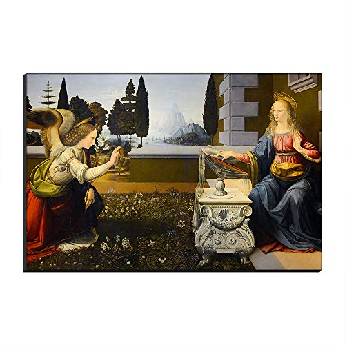 (WALKKING WAYS The Annunciation by Leonardo Da Vinci Canvas Famous Paintings Wonderful Reproduction Printed on Canvas Wall Art Artwork for Wall Decor (Not Framed,40x60 cm))