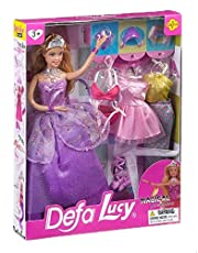 Defa 8269-PURPLE Lucy Doll with Dress and Accessories for Girls