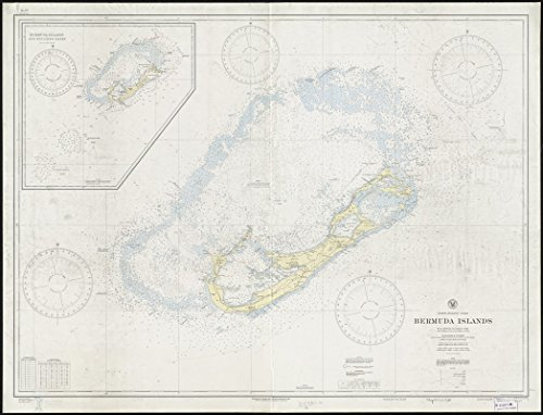 Historic Map | 1938 North Atlantic Ocean, Bermuda Islands : from British surveys to 1926, with additions and corrections to 1936 | Antique Vintage Reproduction by historic pictoric