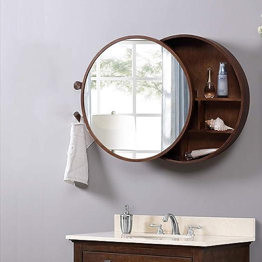 Gabinete de espejo de madera maciza de baño de color nogal con ...
