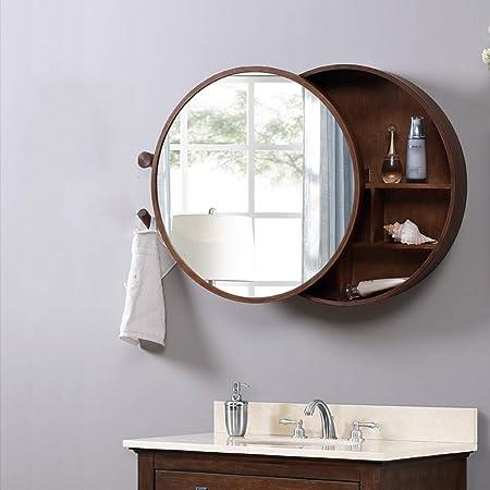 Gabinete de espejo de madera maciza de baño de color nogal con gabinete de almacenamiento de
