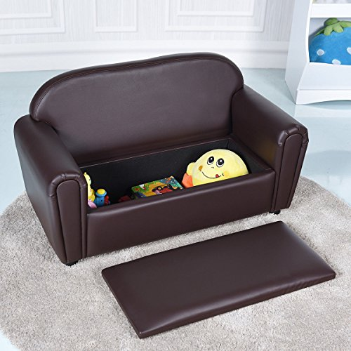 2' Box Seat - Costzon Kids Sofa, Upholstered Couch, Sturdy Wood Construction, Armrest Chair for Preschool Children, Couch with Storage Box (Double Seat)