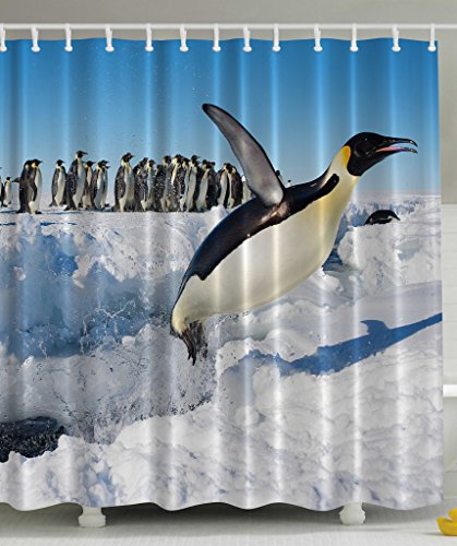 Penguins Noth Pole Wildlife Shower Curtain Swimming Flying Dancing Penguin Family Group Icebergs Antarctica Arctic Bird Art Picture Nature Prints Home Bath Decor Polyester Fabric Blue White Black