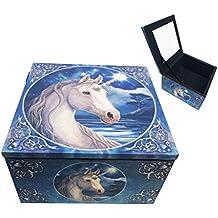 Moonlight Starfall Sacred One Unicorn Jewelry Trinket Mirror Box By Anne Stokes