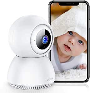Victure 1080P Cámara IP WiFi Cámara de Vigilancia con Detección de Sonido y Seguimiento de Movimiento Camara vigilancia Solo Compatible con 2.4GHZ (Blanco) (Blanco)