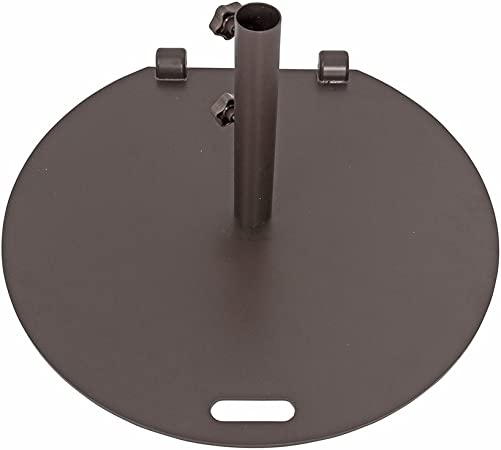 SORARA Umbrella Base Stand Weights 55 lbs Steel Market Patio Umbrella Base 27 inch Diameter, Brown