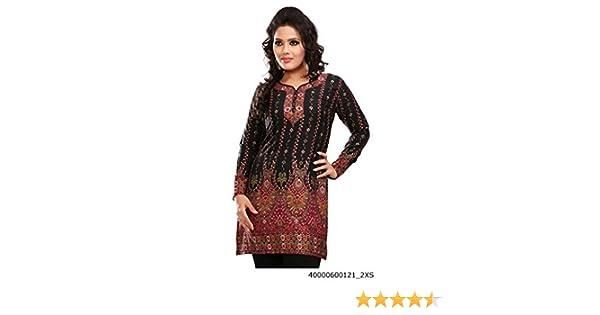 Indian Túnica Top para Mujer Kurti Impreso Blusa India Ropa - Negro -: Amazon.es: Ropa y accesorios