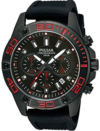 Pulsar Reloj Cronógrafo para Hombre de Cuarzo con Correa en Caucho PT3315X1: Amazon.es: Relojes