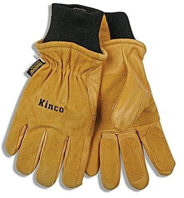 KINCO 901 Men's Pigskin Leather Ski Glove, HeatKeep Thermal Lining, Draylon Thread, X-Large, Golden