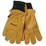 KINCO 901 Men's Pigskin Leather Ski Glove, Heat Keep Thermal Lining, Draylon Thread, Large, Golden
