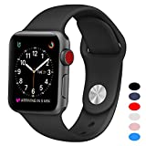 Sport Band for Apple Watch 38mm, BANDEX Soft Silicone Strap Replacement Wristbands for Apple Watch Sport Series 3 Series 2 Series 1(Black S/M)