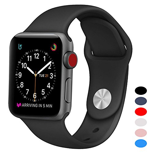 BANDEX Sport For Apple Watch 42mm, Soft Silicone Strap Replacement Wristbands For Apple Watch Sport Series 3 Series 2 Series 1(42MM/38MM Black)