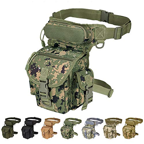 Injoy Multi-Purpose Tactical Drop Leg Bag Tool Fanny Thigh Pack Leg Rig Military Motorcycle Camera Versipack Utility Pouch, Black/Coyote Tan/Army Green Available (Jungle - Jungle Green Messenger Bags
