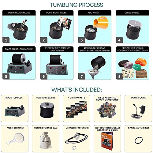 Advanced Professional Rock Tumbler Kit - with Digital 9-day timer and 3-speed settings - Turn Rough Rocks into Beautiful Gems | Great Science Kit & STEM Gift for all ages | Study Geology & Mineralogy by Dan&Darci (Image #2)