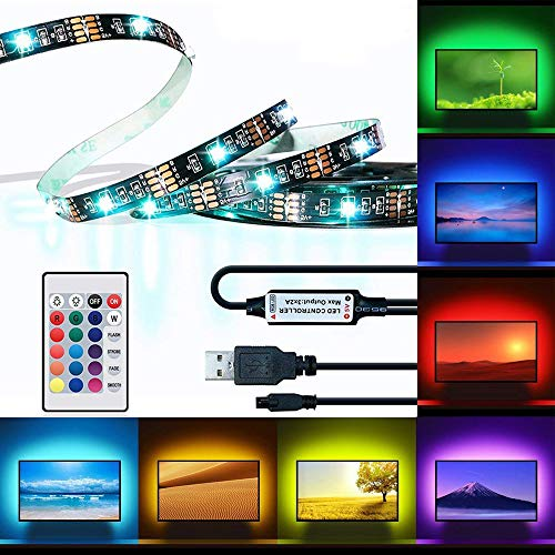 LED TV Backlight, 6.56FT RGB Flexible USB Bias Lighting, Multicolor USB TV Backlight with IR Controller 24Keys Remote for Halloween, 40-60 HDTV, Computer, Background Lighting