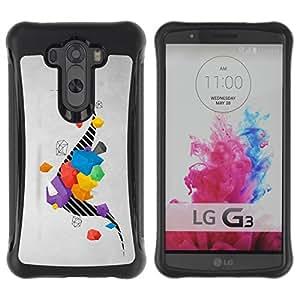 Híbridos estuche rígido plástico de protección con soporte para el LG G3 2014 Smart Phone - drawing stripes abstract grey gray