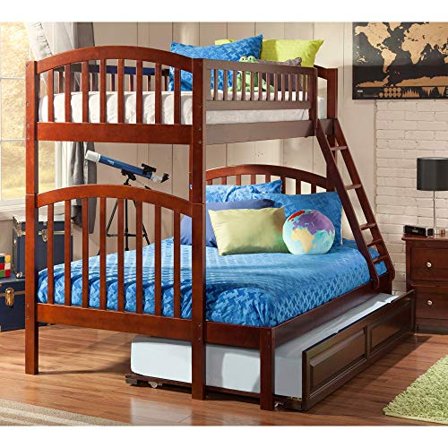 Atlantic Furniture Richland Bunk Bed Twin Over Full with Twin Size Raised Panel Trundle Bed in Walnut