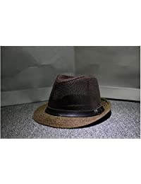 YX The spring and autumn straw hat ms.man breathable cap hat hat old jazz performance grid sunscreen gentleman cap
