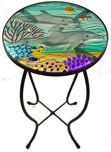 Jaco of America, Inc. Glass Top Hand Painted Nautical Outdoor Accent Side Round Table (Dolphin)