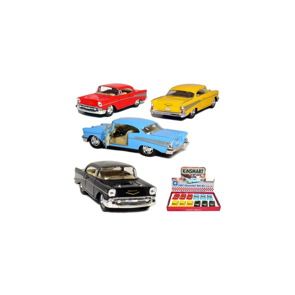 12 pcs in Box 5 1957 Chevy Bel Air Coupe 140 Scale (Black/Blue/Red/Yellow)