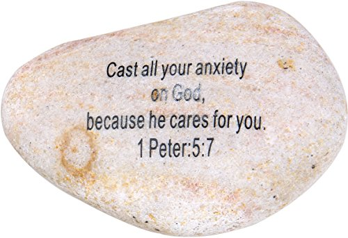 "Holy Land Market Extra Large Engraved Inspirational Scripture Biblical Natural Stones collection – Stone II : 1 Peter 5:7 :"" Cast all your anxiety on God, because he cares for you. Review"
