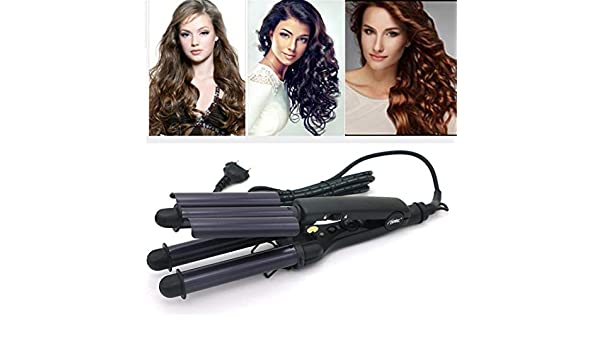 Amazon.com: Rizador De Pelo Pro Tourmaline Ceramic 3 Barrels 3 Pipe Joint Big Hair Wave Waver Ceramic Curling Irons Hairstyle Tools HT020A EU plug: Beauty