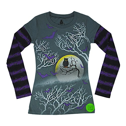 Disney's Mickey & Minnie Mouse Tshirt, Hello Kitty Halloween Juniors Girls Long Sleeve - Glow in the Dark (XX-Large, Grey& Purple)
