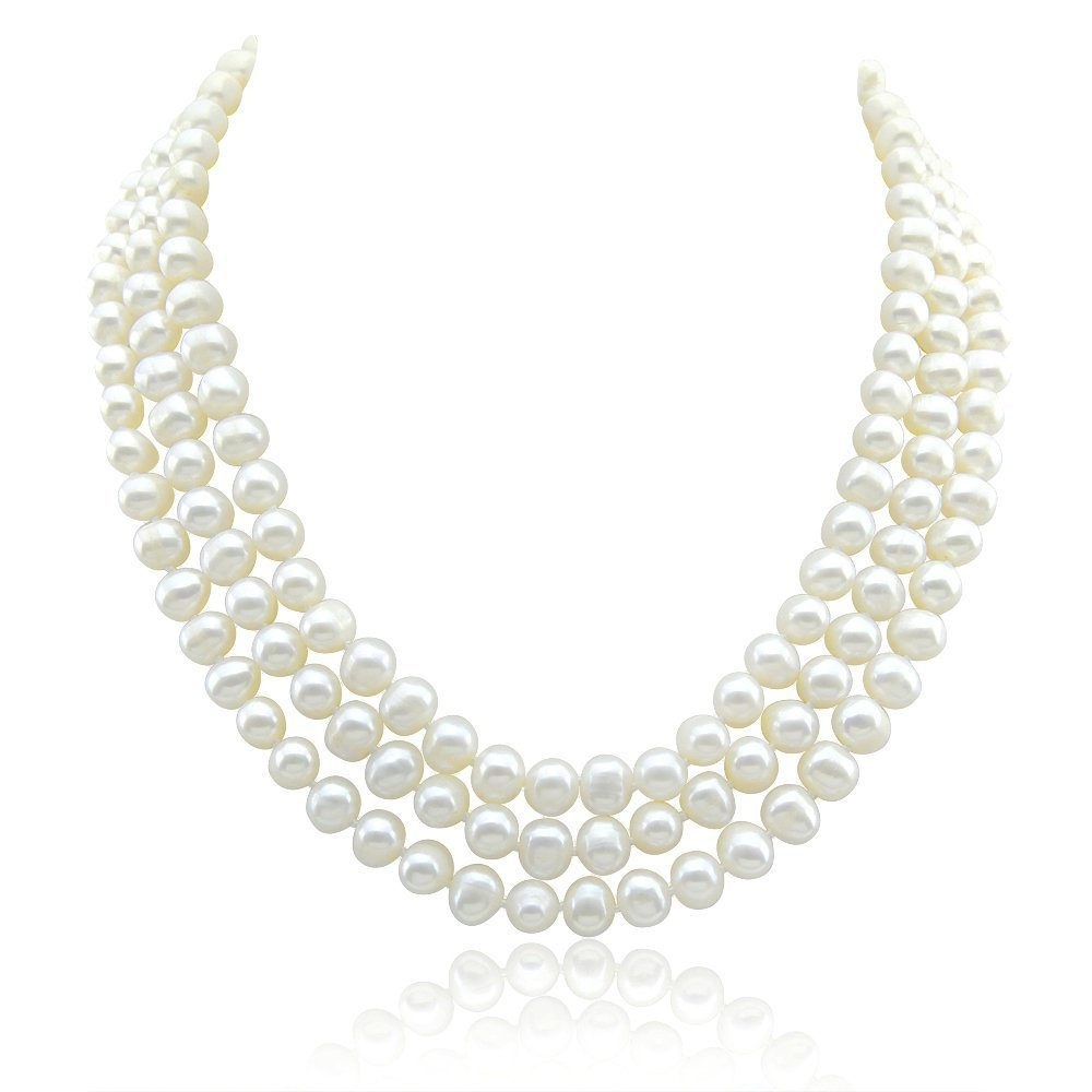 3-row White A Grade Freshwater Cultured Pearl Necklace (6.5-7.5 mm) With rhodium plated base metal Clasp, 16.5'', 17''/18''