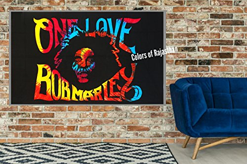 Rasta Single (Colors Of Rajasthan Bob Marley Tapestry, Indian Wall Hanging, Hippie Decor, Bohemian Bedding Single Boho Picnic Throw Gypsy Beach Blanket One Love Rasta Reggae Tapestries By)