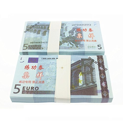 Euro $ 5X100 Pcs Total $500 Dollar Currency Props Money Bills Real Looking New Style Copy Double-Sided Printing - for Movie, TV, Videos, Advertising & Novelty Very good quality Magic, video, jokes