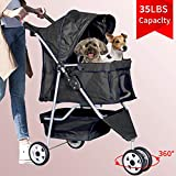 Bigacc 3 Wheels Pet Stroller Large/Small Dog Stroller for Dog Cat Stroller Pet Jogging Stroller Pet Jogger Stroller Dog/Cat Cage Travel Lite Foldable Carrier Strolling Cart