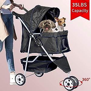 Bigacc 3 Wheels Pet Stroller Dog Stroller for Dog Cat Stroller Pet Jogging Stroller Pet Jogger Stroller Dog/Cat Cage Travel Lite Foldable Carrier Strolling Cart 5