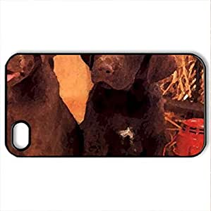 Two Chocolate Labs - Case Cover for iPhone 4 and 4s (Dogs Series, Watercolor style, Black)