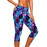Ularmo Women's Printed High Waist Fitness Yoga Stretch Cropped Sport Pants, Multicolored, Medium For Sale