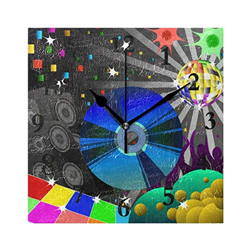 FunnyCustom Square Wall Clock Disco Background 7.8 Inch Creative Decorative for Living ()