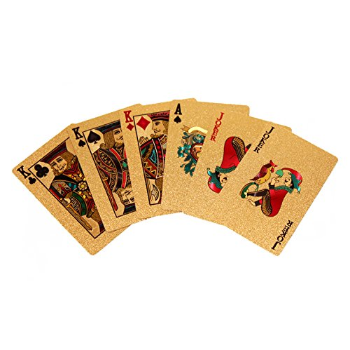 2 Pack Poker 24k Gold Foil Playing Cards Chow Yun-Fat Gamblers Dollars Statue of Liberty Waterproof Aligle