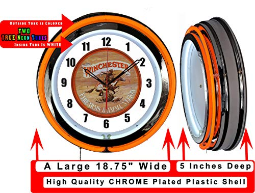 "Checkingtime LLC 19"" Winchester Guns Neon Clock, Orange Outside Tube, Two Neon Tubes,"