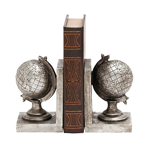 Deco 79 Poly-Stone Globe Bookend, 5 by 7-Inch