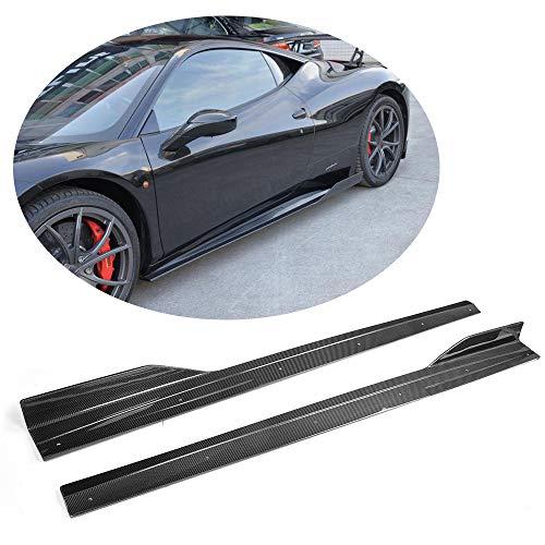 MCARCAR KIT Fits Ferrari 458 Italia Coupe Spider Convertible 2011 2012 2013 Carbon Fiber Side Skirts Extension Door Flat Protector Body Kit 2PCS