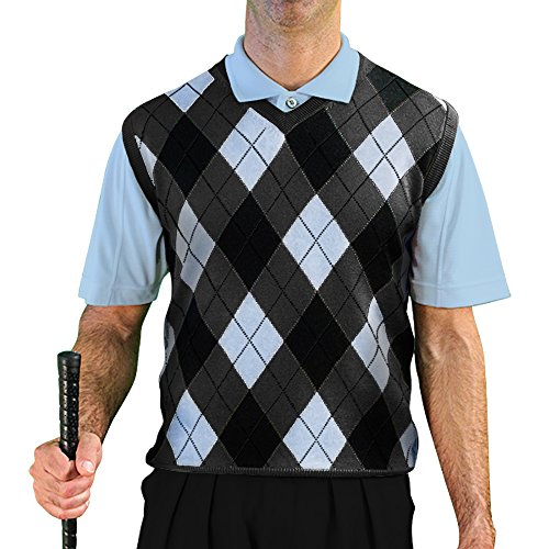 Argyle Golf Vest - V-Neck Argyle Golf Sweater Vests - GolfKnickers: Mens - Pullover - Charcoal/Light Blue/Black - X-Large
