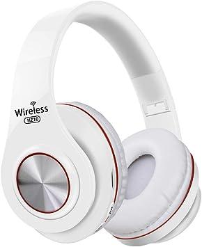 PMWLKJ - Auriculares inalámbricos Hz10 por encima de la oreja, Bluetooth, plegables, auriculares ajustables con micrófono para TV, teléfono móvil, PC, rojo y blanco: Amazon.es: Electrónica