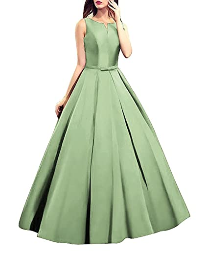 Gmar Womens Simple Open Back Prom Dresses Satin A Line Evening
