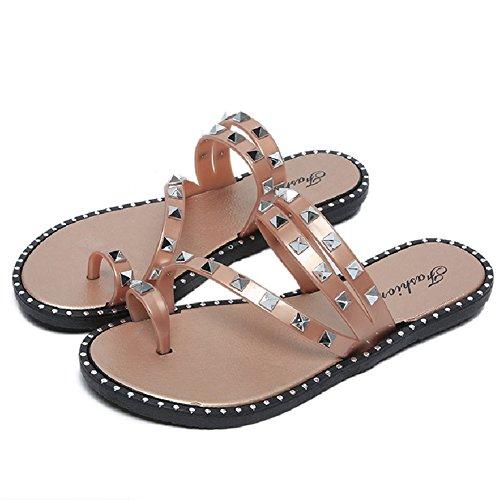 Btrada Mode Dames Sandalen-zomer Strand Clip Teen Slippers-antislip Flats Gouden