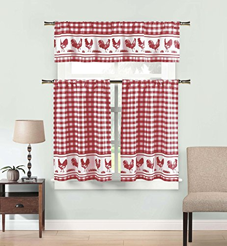 3 Piece Window Curtain Set: Gingham Check and Rooster Design (Burgundy)