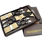 Mens Formal Dress Suspenders Wide Adjustable and Elastic Braces Y Shape with Six Very Strong Clips Gift Box (Khaki)