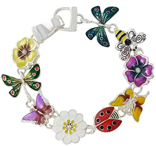 Gold Enameled Bumble Bee - Icon Collection Enameled Garden Creature Link Charm Bracelet for Women :Butterfly, Flower, Bee & Dragonfly