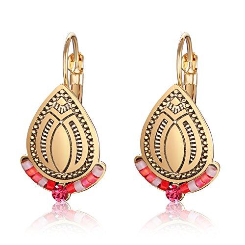 Women's Teardrop Beaded Earrings Oval Bohemian Gyspy Copper Stud Earrings ()