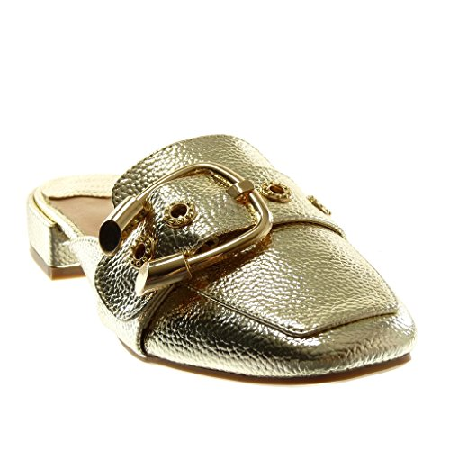 Angkorly Fashion cm Oriental Mules 2 Open on Back Shoes Block Slip Shiny Women's Slippers Gold Grained 5 Buckle Heel rHwRr